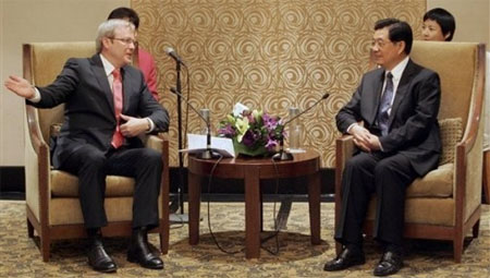 Kevin Rudd & Hu Jintao (Photo: Bloomberg)
