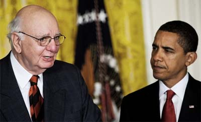 US President Barack Obama & Chairman of the President's Economic Recovery Board Paul Volcker. (Getty Images)