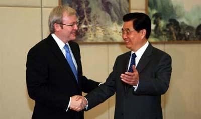 Australian PM Kevin Rudd & Chinese President Hu Jintao. (photo: Xinhua)