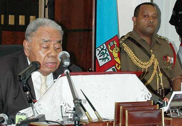 Fiji's President Ratu Josefa Iloilo makes a televised address in which he annulled the country's constitution, on April 10, 2009. (Photo: Reuters)