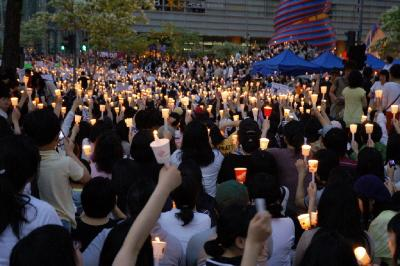 South Koreans protesting against the US Beef Agreement.