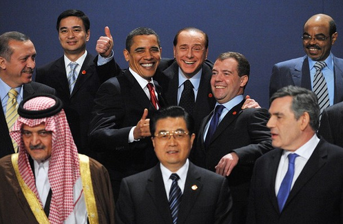 G20 leaders (First Row from L to R) Saudi King Abdullah Bin Abdel Aziz, Chinese President Hu Jintao, Britain's Prime Minister Gordon Brown, (Second Row from L to R) Turkish President Recep Tayyip Erdogan, Thai Prime Minister and chair of ASEAN Abhisit Vejjajiva, US President Barack Obama, Italian Prime Minister Silvio Berlusconi, Russian President Dmitry Medvedev and New Partnership for Africa's Development (NEPAD) Meles Zenawi pose during the G20 summit in east London on April 2, 2009. (Photo: Eric Feferberg/AFP/Getty Images)