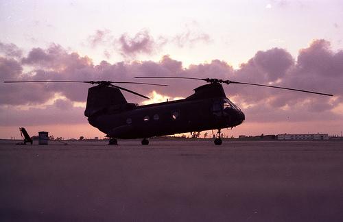 Sunrise at the Marine Corps Air Station Futenma, Okinawa, Japan. (Photo: Flickr user 'misconmike')