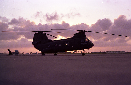 Sunrise at the Marine Corps Air Station Futenma, Okinawa, Japan. (Photo: Flickr user 'misconmike')