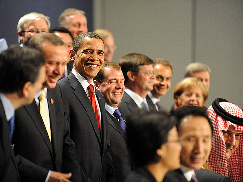 Leaders of G20 nations pose for a group photograph at the G20 London Summit, on 2 April 2009. (Photo: Downing Street)
