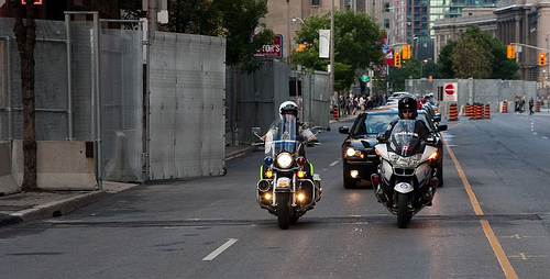 Police motorcade practice a few days before the G20 Summit in Toronto. (Photo: Flickr user 'Somewhere In Toronto')