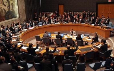 The United Nations Security Council votes to adopt a resolution imposing sanctions against North Korea June 12, 2009 in New York City.