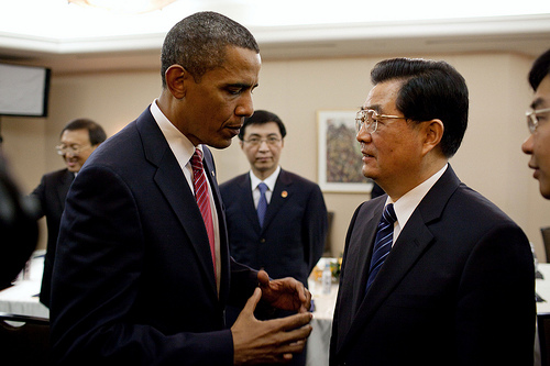 President Barack Obama talks with Chinese President Hu Jintao following their bilateral meeting at the G20 Summit in Toronto, Canada, on June 26, 2010. (Photo: White House/Pete Souza)