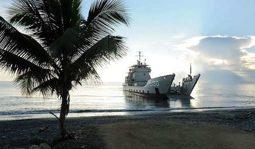 HMAS Wewak conducts amphibious beach landing training on Guadalcanal beach, in the Solomon Islands.  HMAS Wewak, a Royal Australian Navy Landing Craft Heavy (LCH) has conducted an amphibious landing operation with the Royal Solomon Islands Police Force (RSIPF) and RAMSI personnel in the Solomon Islands. (Photo: Royal Australian Navy)