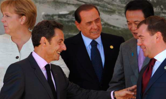 German Chancellor Angela Merkel, left, French President Nicolas Sarkozy, Italian Prime Minister Silvio Berlusconi, Japan's Prime Minister Taro Aso and Russian President Dmitry Medvedev at the 2009L'Aquila G8 Summit: After the smaller group, will the G20 prove too unwieldy?  (Photo: Michael Gottschalk/AP/AAP)