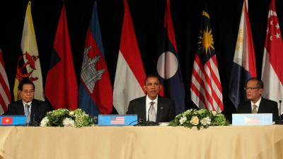 Vietnamese President Nguyen Minh Triet, US President Barack Obama and Philippine President Benigno Simeon Aquino III at the US-ASEAN Leaders Meeting on September 24, 2010