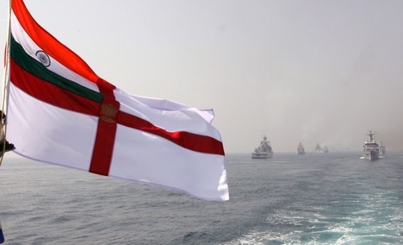 The Indian Navy's warships take part in a fleet review at sea in Visakhapatnam on February 12, 2006.