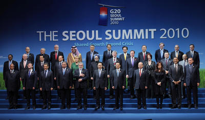 World leaders pose for a 'family photo' before the start of the G20 Summit in Seoul, South Korea on November 12, 2010. (Photo: Stefan Rousseau/PA Wire)