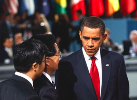 China's President, Hu Jintao, centre left, and US President Barack Obama: the China-United States axis is at the centre of the reoriented configuration in international relations. (Photo: John Moore/Getty Images)