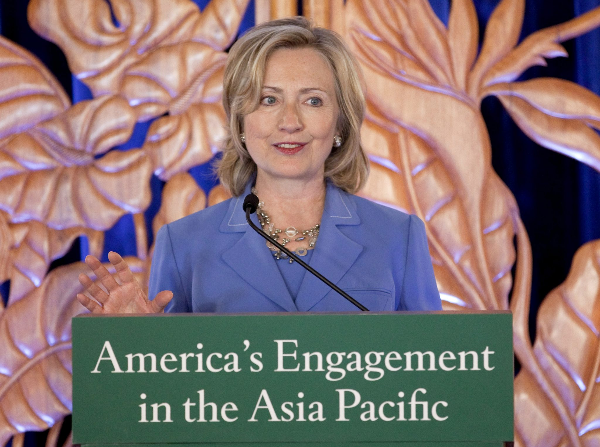 Secretary of State Hillary Rodham Clinton discusses America's engagement in the Asia-Pacific region, Thursday, Oct. 28, 2010, in Honolulu, Hawaii. (Photo: AAP)