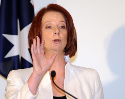 Australian Prime Minister Julia Gillard delivers her victory speech after been given the numbers to form the new government at Parliament House in Canberra on September 7, 2010. (Photo: AAP)