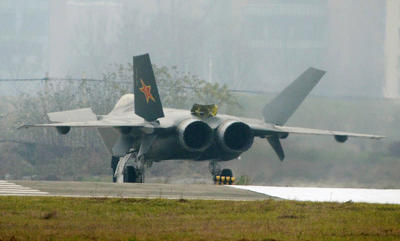 A Chinese J20 stealth plane is seen after finishing a runway test in Chengdu, southwest China, on 5 January 2011. (Photo: AAP)