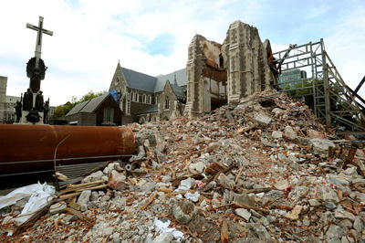 Damage to Christchurch Cathedral, 17/03/11. (Photo: AAP)