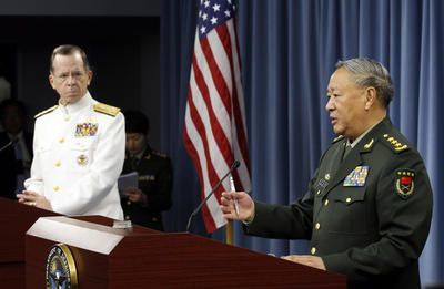 Chairman of the Joint Chiefs of Staff Adm. Mike Mullen, left, and Chinese Gen. Chen Bingde during bilateral talks at the Pentagon. (Photo: AAP)