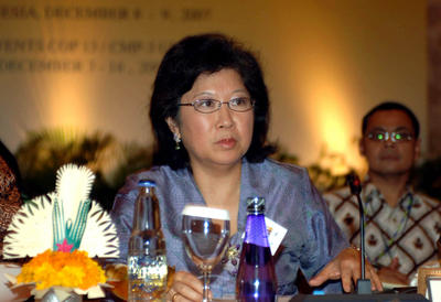 The then Indonesian trade minister Mari Pangestu attends the Informal Trade Minister Dialogue on Climate Change Issues as part of the UN Climate Change Conference 2007 in Jimbaran on 8 December 2007. Dr Pangestu is a candidate for director-general of the WTO for the period 2013–17. (Photo: AAP)