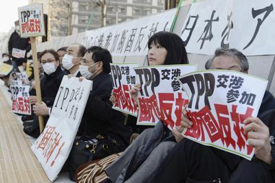 Protesters stage a sit-in in front of a Diet building in Tokyo on 15 March 2013, demonstrating against Japanese participation in the Trans-Pacific Partnership trade liberalisation talks. (Photo: AAP)