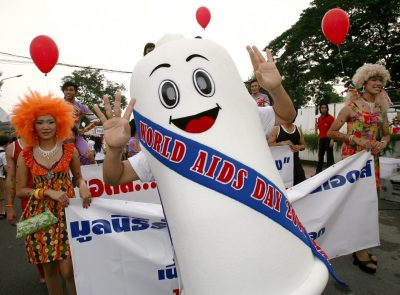 Condoms on parade in Bangkok. The devices are effective in preventing the spread of AIdS but are only  the third most popular contraceptive method in Asia. (Photo: AAP)
