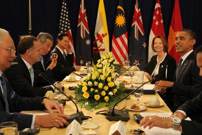 National leaders, including New Zealand Prime Minister John Key, Australian Prime Minister Julia Gillard and US President Barack Obama discuss the Trans-Pacific Partnership deal at a meeting in Phnom Penh, Cambodia, on 20 November 2012. (Photo: AAP)