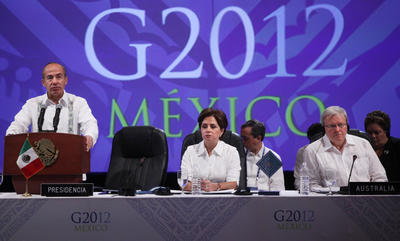 Then Foreign Minister, now Prime Minister, Kevin Rudd attends the G20 foreign ministers summit at Los Cabos, Mexico on 20 February 2012. (Photo: AAP)