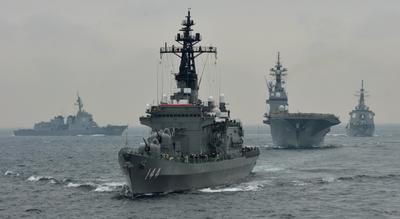 Japanese Maritime Self-Defence Force make sits fleet review off Sagami Bay, Japan