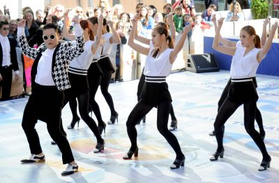 Psy performs on the Today Show in New York. (Photo: AAP)