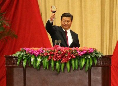 Chinese President Xi Jinping gives a toast during the National Day reception in a banquet hall at the Great Hall of the People in Beijing, China, 30 September 2014. (Photo: AAP).
