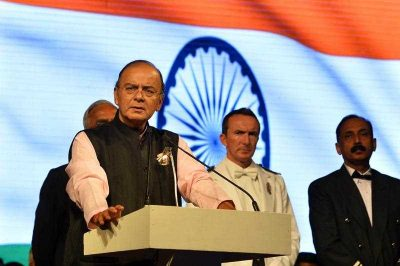 Indian Finance, Corporate Affairs and Defence Minister Arun Jaitley speaks during an event unveiling a Victoria Cross memorial plaque and individual memorials in New Delhi on October 30, 2014. (Photo: AAP)