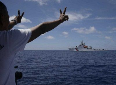 A China Coast Guard vessel attempts to block a Philippine government vessel as it tries to enter the Second Thomas Shoal/ Ayungin Shoal. (Photo: AAP).