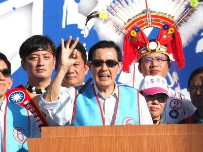 Taiwanese President Ma Ying-jeou speaking at a campaign rally before Taiwan's local elections. President Ma resigned from his position as chairman of the Kuomingtang soon after the election results were confirmed, leaving the party in chaos. (Photo: AAP).