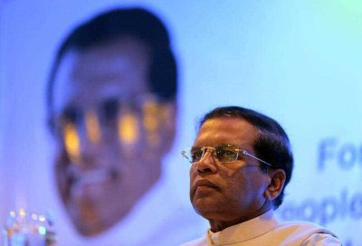 Sri Lankan main opposition presidential candidate Maithripala Sirisena attends a meeting with diplomatic corps in Colombo, Sri Lanka, 1 January 2015. (Photo: AAP).