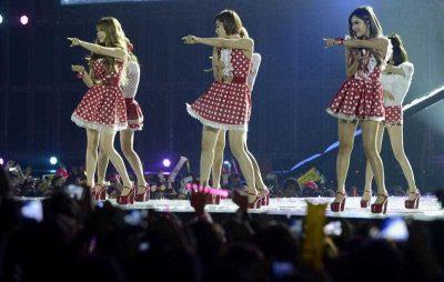 Members of South Korean K-pop band Tara perform during a concert held at Hanoi's My Dinh stadium on 29 November 2012. Seventeen South Korean pop bands performed at the concert held to mark the 20th anniversary of the establishment of diplomatic ties between South Korea and Vietnam. (Photo: AAP)