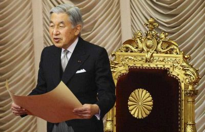 Emperor Akihito of Japan announces the opening of the ordinary parliament session at the upper house in Tokyo, Japan, Monday, Jan. 18, 2010. (Photo: AAP).