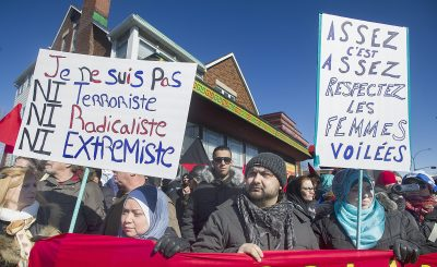 People in Montreal, Canada attend a demonstration to denounce PEGIDA, a German anti-Islamic group, 28 March 2015. (Photo: AAP).