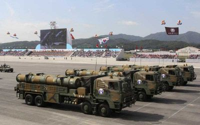 South Korean Hyunmu-3 cruise missiles are displayed during a ceremony marking the anniversary of Armed Forces Day at a military airport near Seoul, South Korea. (Photo: AAP)