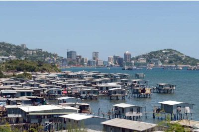 The Motu stilt village in Port Moresby March 22, 2014. They were rebuilt in all-Australian building materials, corrugated iron and fibrocement and the people have retained many traditional Motu customs. (Photo: AAP)