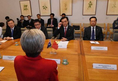 Australia's Minister for Foreign Affairs Julie Bishop meets with China's Minister for Commerce Dr Gao Hucheng at Parliament House in Canberra, Wednesday, June 17, 2015. (Photo: AAP)