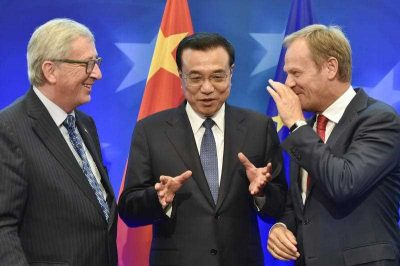 European Commission President Jean Claude Juncker, China's Premier Li Keqiang and European Council President Donald Tusk during the 17th bilateral EU-China summit in Brussels, Belgium, 29 June 2015. (Photo: AAP).