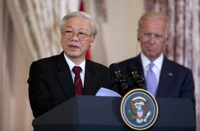 General Secretary of the Communist Party of Vietnam Nguyen Phu Trong  speaks during a luncheon gathering hosted by Vice President Joe Biden at the Department of State in Washington, 7 July 2015. (Photo: AAP).