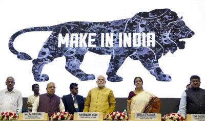 Indian Prime Minister Narendra Modi unveiling the logo of the 'Make in India' initiative in New Delhi, an event where he called on manufacturers across the globe to come and make India a manufacturing hub, 25 September 2014. (Photo: AAP)
