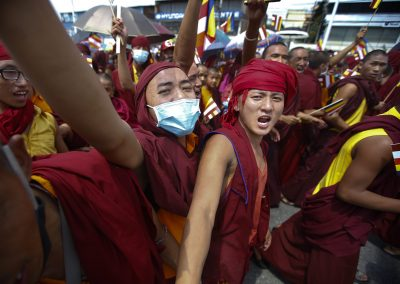 Thousands of Nepalese Buddhist monks attended  protest rally in Kathmandu, Nepal, 06 September 2015, demanding secularism in the new constitution of Nepal (Photo: AAP)