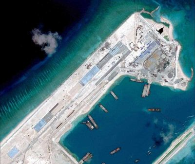 A satellite image, issued by the Center for Strategic and International Studies (CSIS) think tank, showing an airstrip under construction at Fiery Cross Reef in the Spratly Islands. (Photo: AFP)