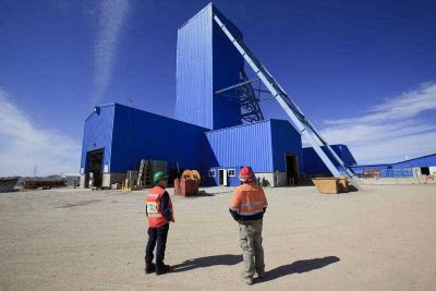 The main shaft hoist area at the Oyu Tolgoi copper mine in the South Gobi desert in Mongolia. (Photo: AAP).