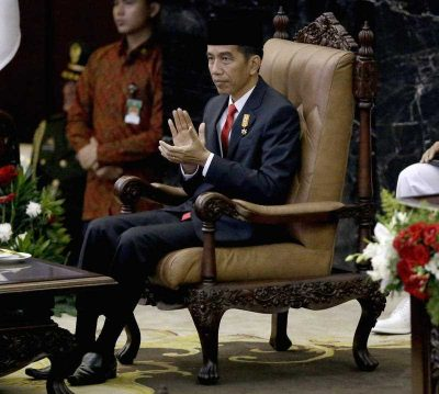 Indonesian President Joko Widodo (Jokowi) prior to speaking before Parliamentary members ahead of the country's Independence Day in Jakarta. (Photo: AAP).