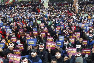South Korean protesters at a rally against government policies in Seoul, South Korea, 5 December 2015. (Photo: APP).