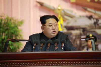North Korean leader Kim Jong-un speaks at the 4th Conference of Korean People's Army Artillery Personnel  in April 2015. (Photo: AAP via KCNA.)